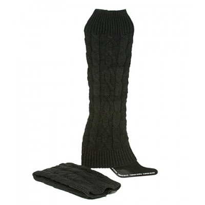 Socks/ Leg Warmers - Knitted Leg Warmers - Black - SK-F1004BK