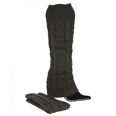 Socks/ Leg Warmers - Knitted Leg Warmers - Dark Gray - SK-F1004DGY