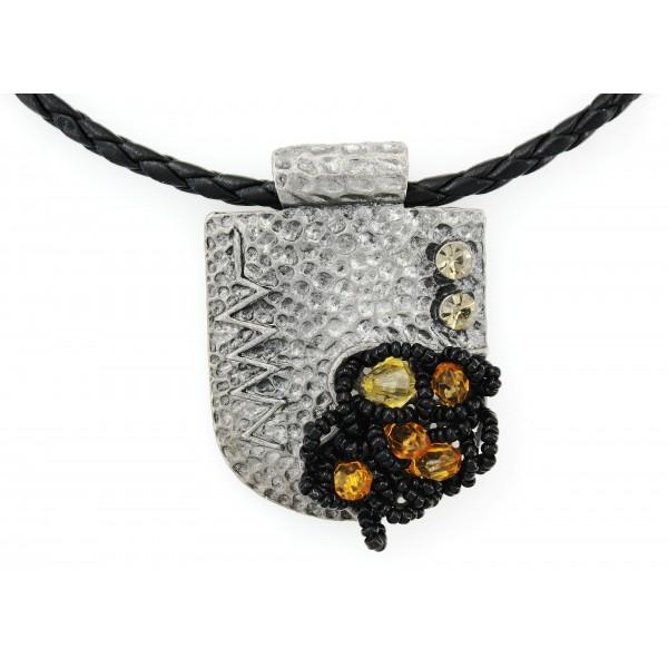 Imitation Hand Carved Charm w/ Leather Strap Necklace - NE-TBG815