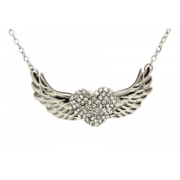 Rhinestone Heart w/ Angel Wing Charm Necklaces - Clear - NE-JVSN8921CL