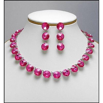 Gift Set - Swarovski Necklace & Earring Set - Pink - NE-E05PK