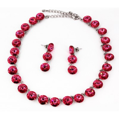 Gift Set - Swarovski Necklace & Earring Set - Pink - NE-E05PK