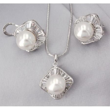 Gift set: MAPERLA PEARL w/ Swarovski Cubic Zirconia Necklace & Earring Set - NE-JP10387W