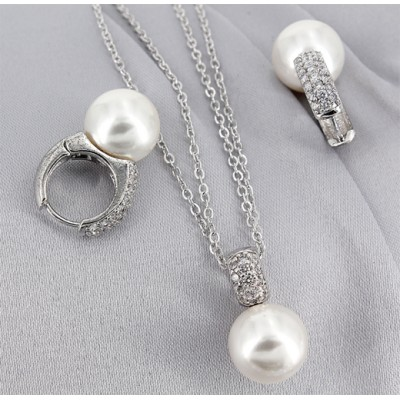 Gift set: Maperla Pearl w/ Swarovski Cubic Zirconia Necklace & Earring Set - NE-JP10416W