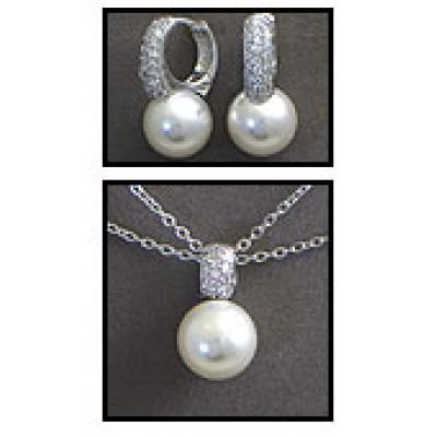 Gift set: Maperla Pearl w/ Swarovski Cubic Zirconia Necklace & Earring Set - NE-JP10416W