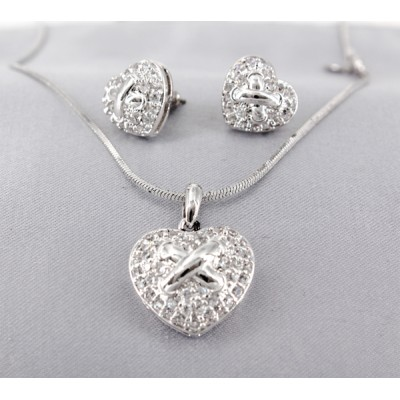 Necklace - Swarovski Cubic Zirconia Neklace & Earrings Set (Made in Italy) - NE-JP10517