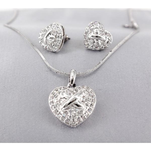 Necklace - Swarovski Cubic Zirconia Neklace & Earrings Set (Made in Italy) - NE-JP10517