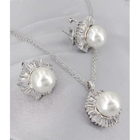 Gift set: Maperla Pearl w/ Swarovski Cubic Zirconia Necklace & Earring Set - NE-JP10969W