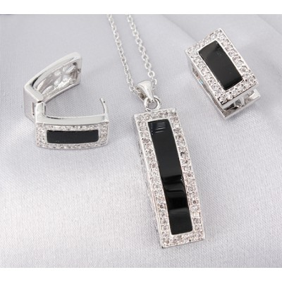 Gift set: Swarovski Cubic Zirconia w/ Onyx Necklace & Earring Set - NE-JP10993B