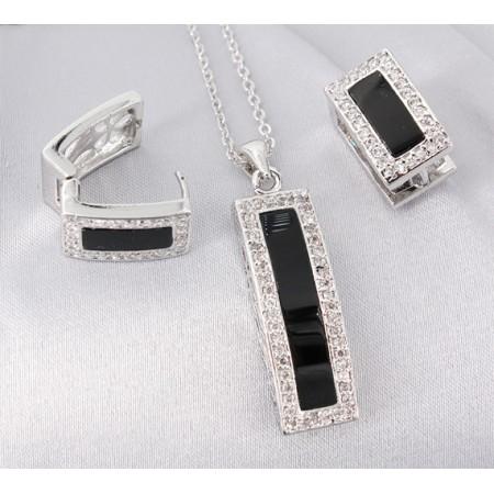 Gift set: Swarovski Cubic Zirconia w/ Onyx Necklace & Earring Set - NE-JP10993B
