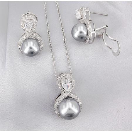 Gift set: Maperla Pearl w/ Swarovski Cubic Zirconia Necklace & Earring Set - NE-JP11695B