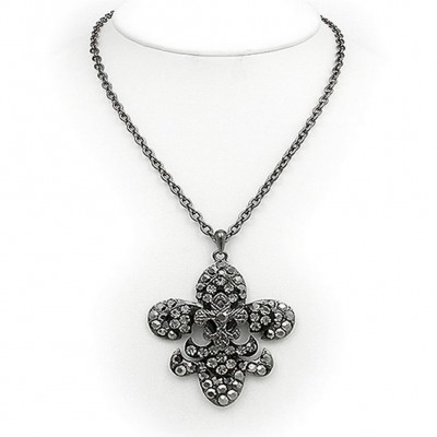 Fleur De Lis Charm Necklace - 3-Layer Paved Rhinestone - Hematite - NE-12252HE