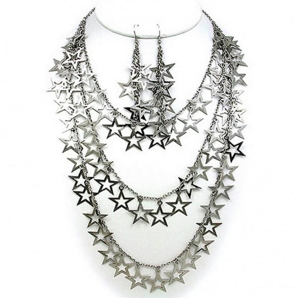 Multi Chain Straps Necklace & Earrings Set w/ Dangling Open Stars - Silver - NE-12262