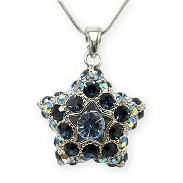 Swarovski Crystal Pave Star Necklace - Blue - NE-2374BL
