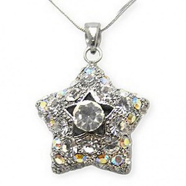 Swarovski Crystal Pave Star Necklace - Clear - NE-2374CL