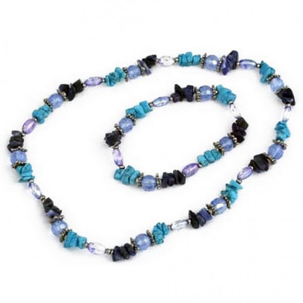 Precious Stone Necklace & Bracelet Set - Blue - NE-629BL