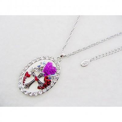 Rhinestone Oval Charm Necklace w/ Heart & Cross - NE-ACQN4816