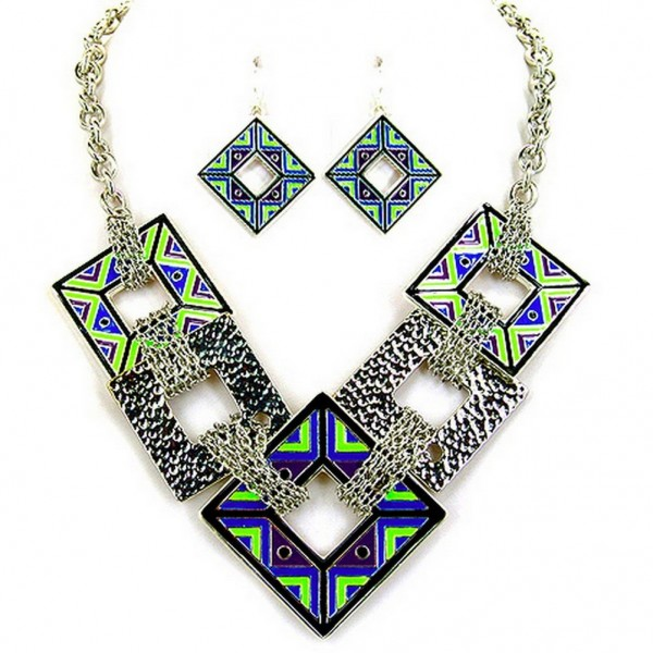 Geometric Square Charms Link Necklace & Earrings Sets - NE-AS4176SMX