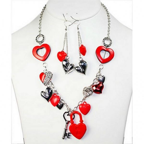 Heart Charms Necklace w/ Earrings Set - NE-FNE2290RHRD