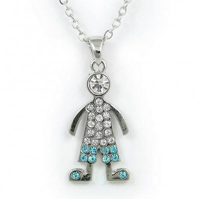Rhinestone Boy Charm Necklaces - Blue and Clear - NE-JN0101BLCL