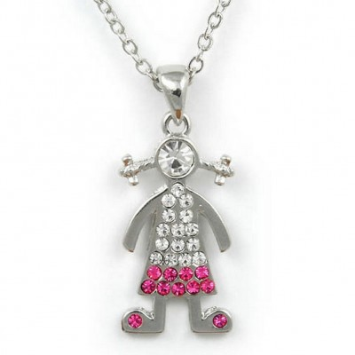 Rhinestone Boy Charm Necklaces - Pink and Clear -NE-JN0101PKCL