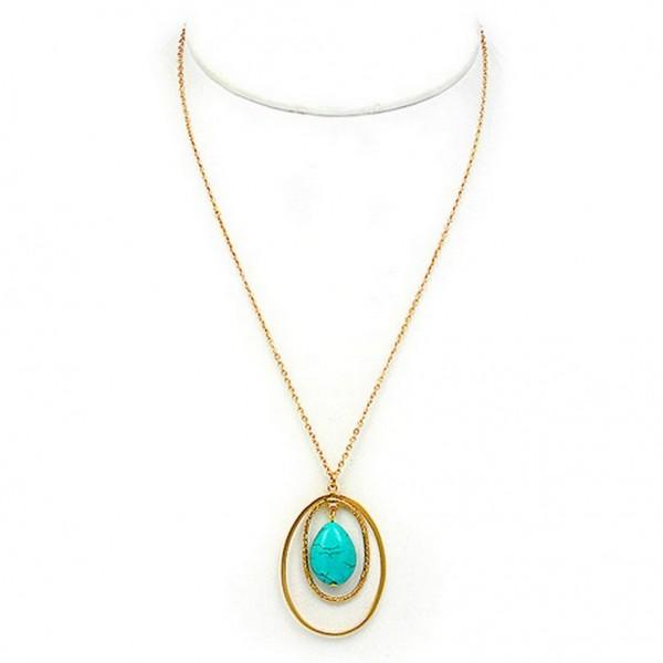 "Necklace: Dual Circles w/ Tear Drop Genuine Stone – 16"" - NE-JN669TQ"