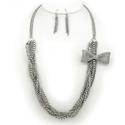 Multi Chain w/ Mesh Bow Necklace & Earrings Set - Hematite - NE-KF0014RH