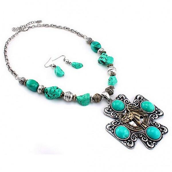 Cross Charm Necklace & Earrings Set - Casting Cross Charm w/ Turquoise Stones  - NE-LNE2109GBTQ