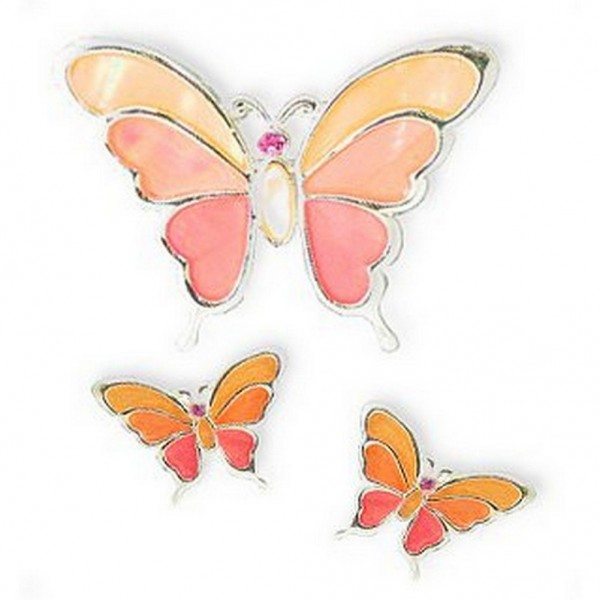 Mother of Pearl Butterfly Pendant & Earrings Set - NE-MCE1155SP