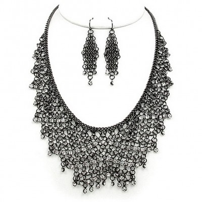 Mesh Chains BIB Accent w/ Clear Rhinestone Necklace & Earrings Set - Hematite - NE-MCN306HEMA