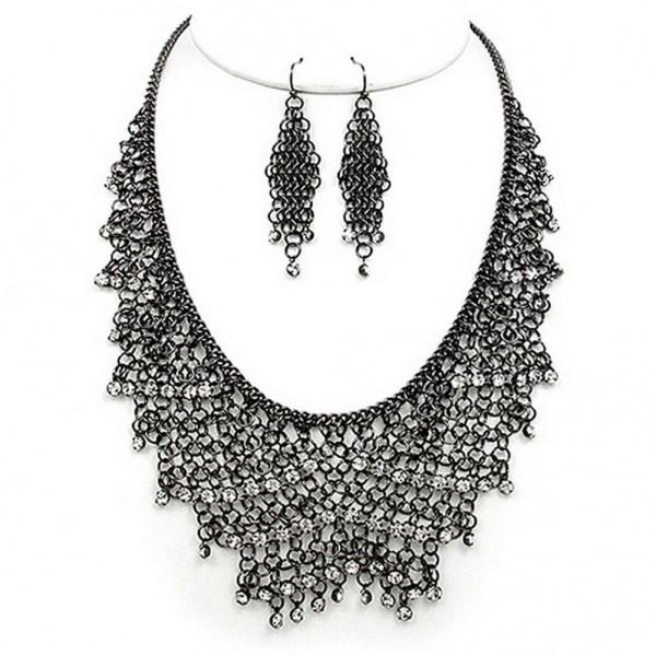 Mesh Chains BIB Accent w/ Clear Rhinestone Necklace & Earrings Set - Hematite - NE-MCN306HEMA