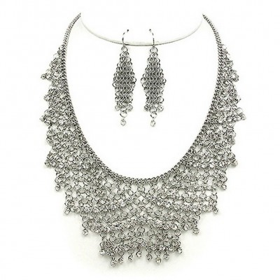Mesh Chains BIB Accent w/ Clear Rhinestone Necklace & Earrings Set - Hematite - NE-MCN306RH