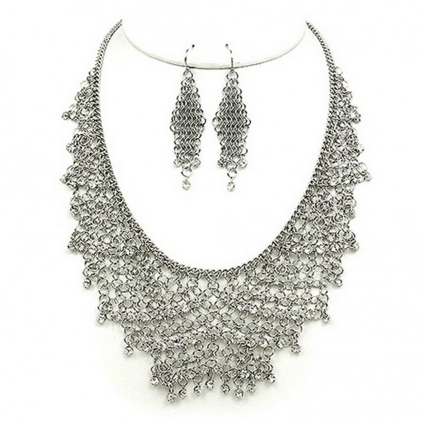 Mesh Chains BIB Accent w/ Clear Rhinestone Necklace & Earrings Set - Hematite - NE-MCN306RH