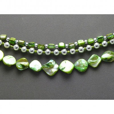Multi Straps Shell Necklace - Green - NE-MN2168GN