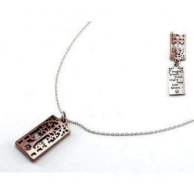 """Flip Top Lid Message Pendant Necklace - """"Imagine Growth Dream""""  - NE-MN4101B2T"""