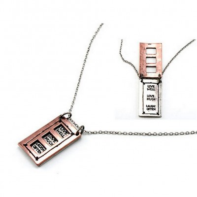 "Flip Top Lid Message Pendant Necklace - ""Live Well Love Much""   - NE-MN4102B2T"