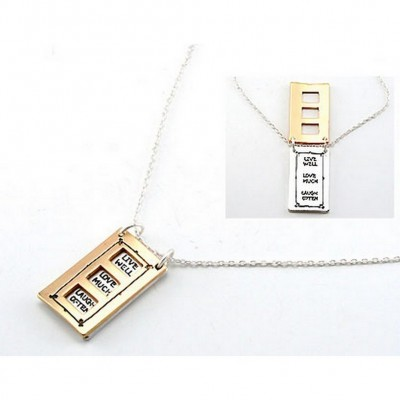 "Flip Top Lid Message Pendant Necklace - ""Live Well Love Much""  - NE-MN4102M2T"