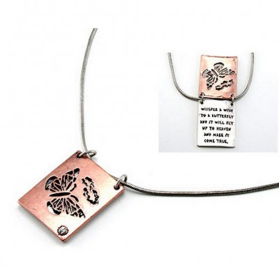 "Flip Top Lid Message Pendant Necklace - ""Whisper A Wish To A But""  - NE-MN4103B2T"