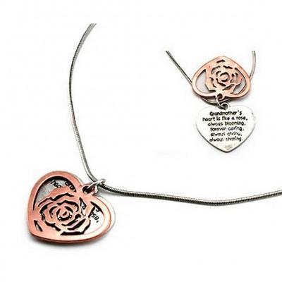 "Flip Top Lid Message Pendant Necklace - ""Grandmother's Heart""  - NE-MN4104B2T"