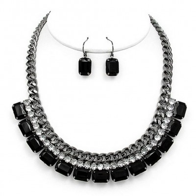Metal Chain Strand w/ 2-Row Rhinestone Layer Necklace & Earrings Set - Hematite - NE-MS1116BN