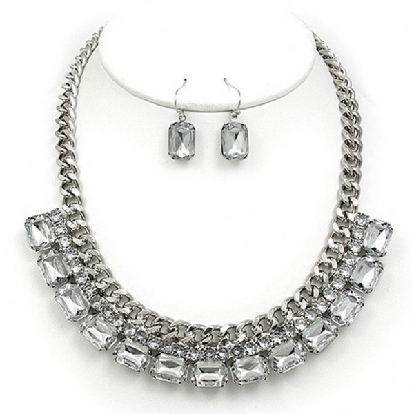 Metal Chain Strand w/ 2-Row Rhinestone Layer Necklace & Earrings Set - Hematite - NE-MS1116RH
