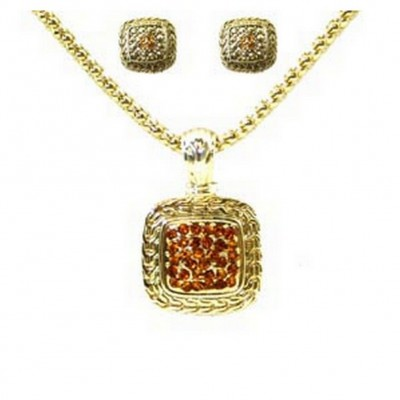 Western Style/ Square Necklace & Earrings Set - NE-MS3163AGTO