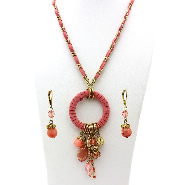 Faux Suede O-Ring W/ Dangle Beads Necklace & Earrings Set - Coral - NE-MS3464GCR