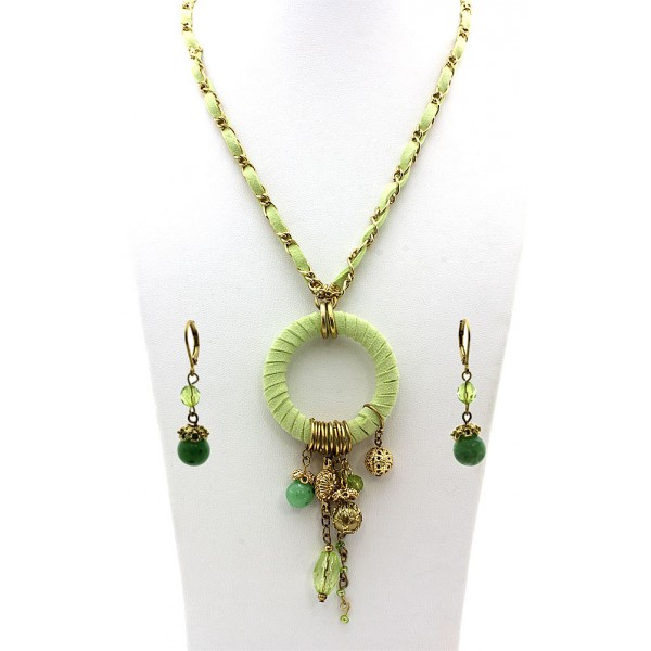 Faux Suede O-Ring W/ Dangle Beads Necklace & Earrings Set - Lime - NE-MS3464GE