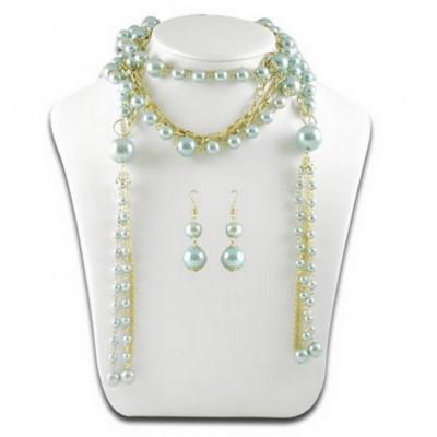 Multi Chain Pearl w/ Small Oval Links NE+ER Set - Blue - NE-N1387BL