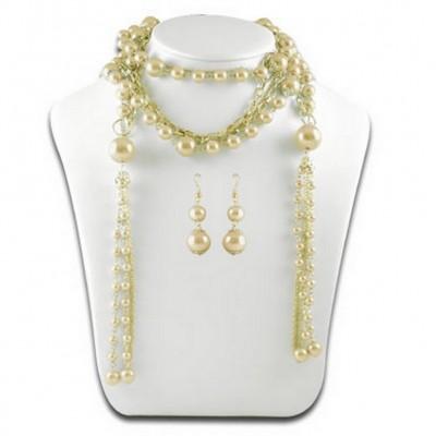 Multi Chain Pearl w/ Small Oval Links NE+ER Set - Gold - NE-N1387GD
