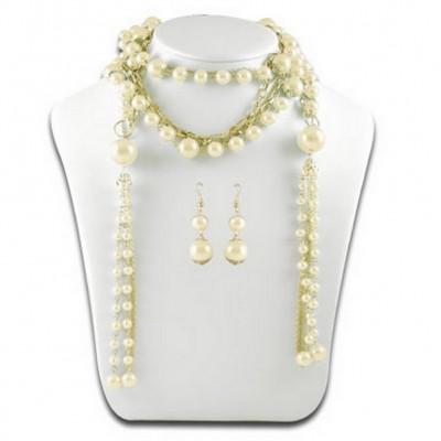 Multi Chain Pearl w/ Small Oval Links NE+ER Set - Natural - NE-N1387NT