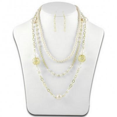 Multi Chain Pearl w/ Big Carved Metal Beads NE+ER Set - Natural - NE-N1388NT