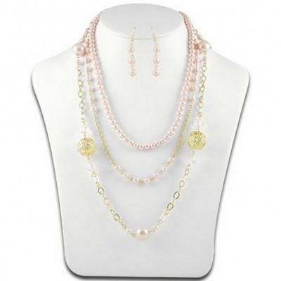 Multi Chain Pearl w/ Big Carved Metal Beads NE+ER Set - Pink - NE-N1388PK