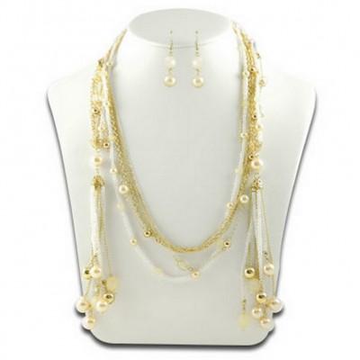 Multi Chain Pearl and Beads NE+ER Set -Natural - NE-N1390NT